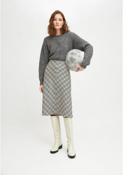 Smock skirt with check print