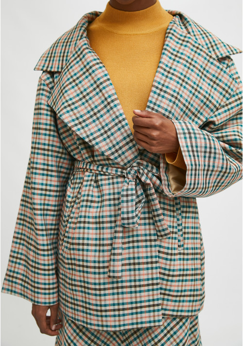 Cropped padded coat with lapel collar and check print - Compañía Fantástica