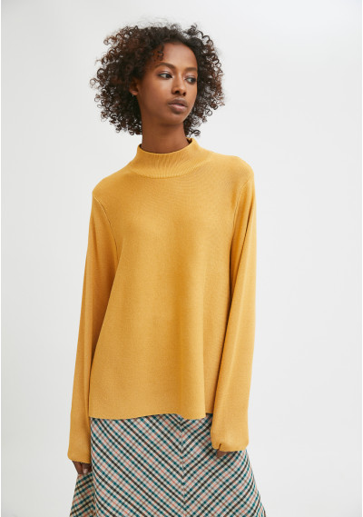 Yellow high-neck smock knit...