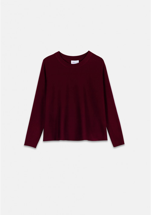 Burgundy flared-cut knit jumper with ribbed round neck - Compañía Fantástica