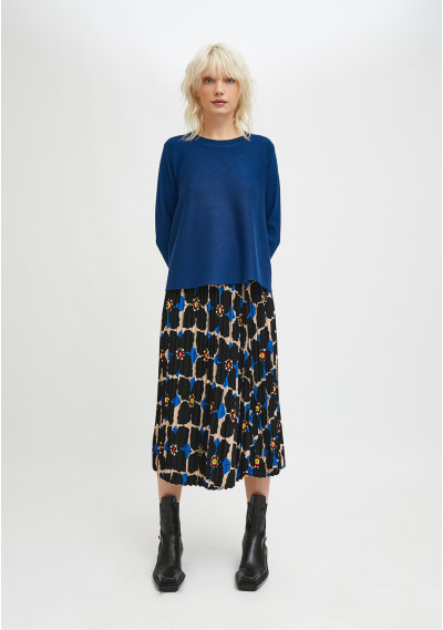 Blue flared-cut knit jumper with ribbed round neck -  Compañía Fantástica
