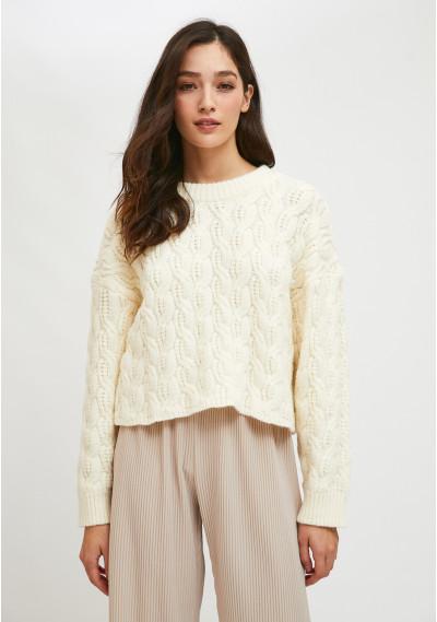White cable knit jumper -  Compañía Fantástica