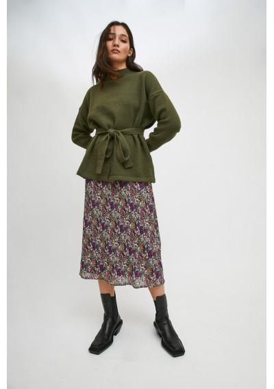 Green high-neck knit jersey...