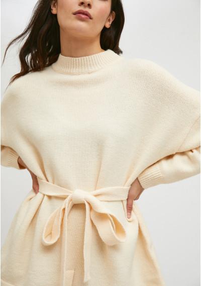 White high-neck knit jersey...