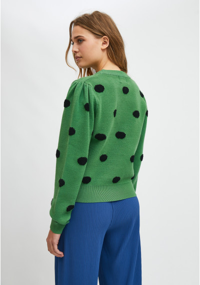 Green fine-knit jumper with polka dot print -  Compañía Fantástica