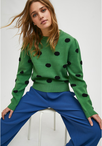 Green fine-knit jumper with...