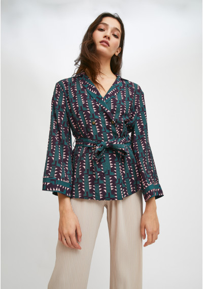 Belted kimono-style top in...