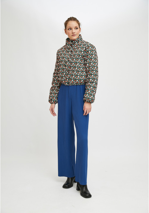 Two-tone flower print cropped padded coat - Compañía Fantástica
