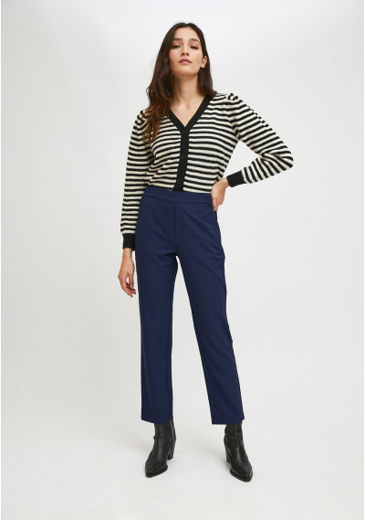 Straight-cut mid-rise trousers with elasticated waist in blue -  Compañía Fantástica