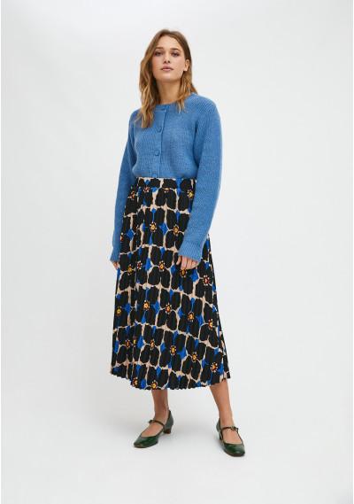 Jasmine flower print pleated midi skirt with elasticated waist -  Compañía Fantástica