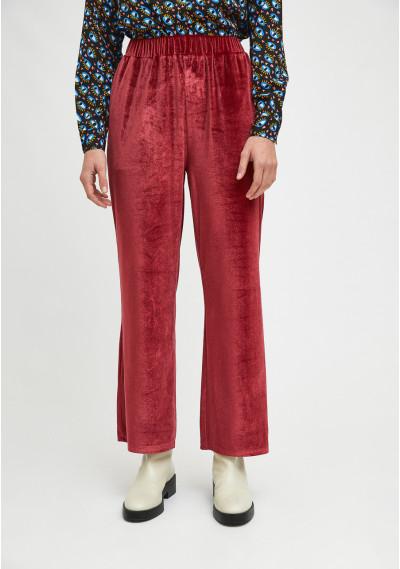 Red velvet high-waisted straight-cut trousers -  Compañía Fantástica