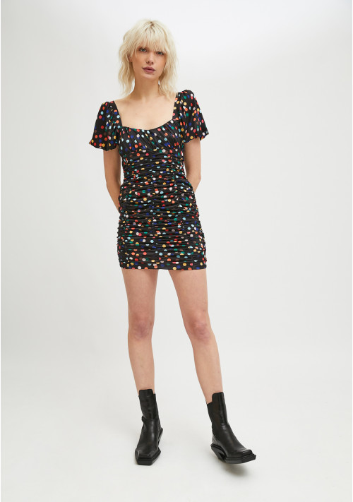 Fitted mini dress in draped fabric with confetti polka dot print - Compañía Fantástica