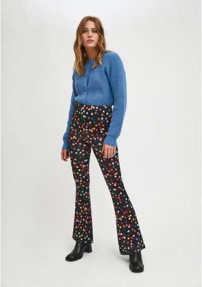 High-waisted flares in...