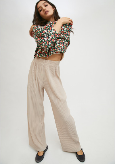 White high-waisted pleated...