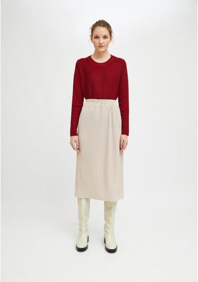 White pleated straight-cut midi skirt with elasticated waist -  Compañía Fantástica
