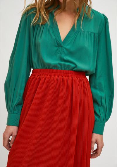 Red pleated straight-cut midi skirt with elasticated waist -  Compañía Fantástica