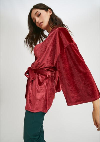 Cropped velvet kimono with...