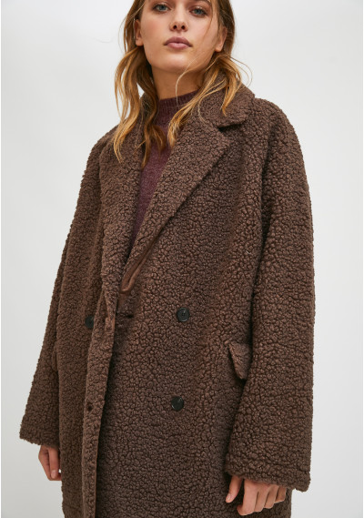 Brown cropped wrap-style...