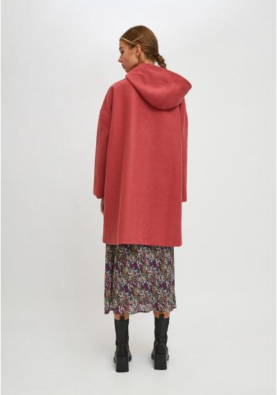 High collar long parka with hood in pink -  Compañía Fantástica