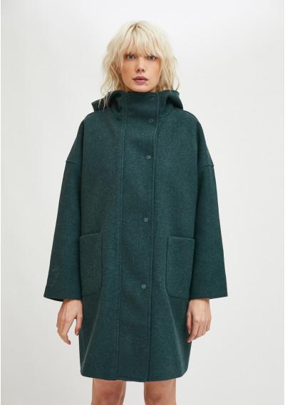 High collar long parka with hood in green -  Compañía Fantástica