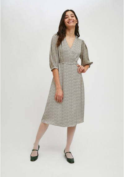 Belted wrap midi dress with...