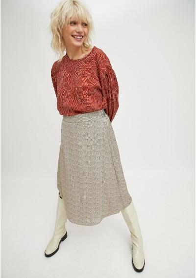 Flared midi skirt in...