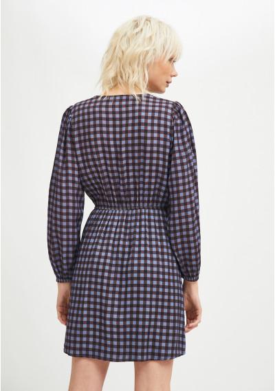 Check print mini dress with decorative buttons -  Compañía Fantástica