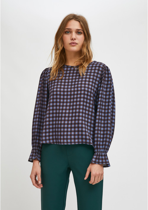 Smock top with ruffled cuff detail in check print - Compañía Fantástica