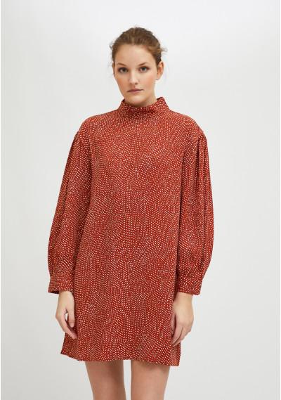 Micro polka dot print mini smock dress in lightweight fabric with high collar -  Compañía Fantástica