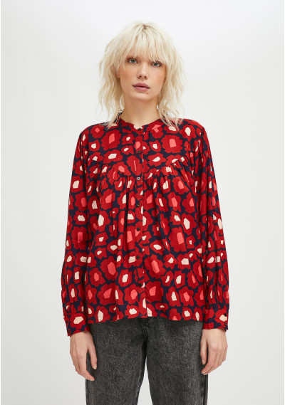 Shirt with ruched details in big flower print -  Compañía Fantástica