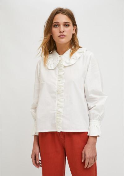 Bib collar shirt with white...