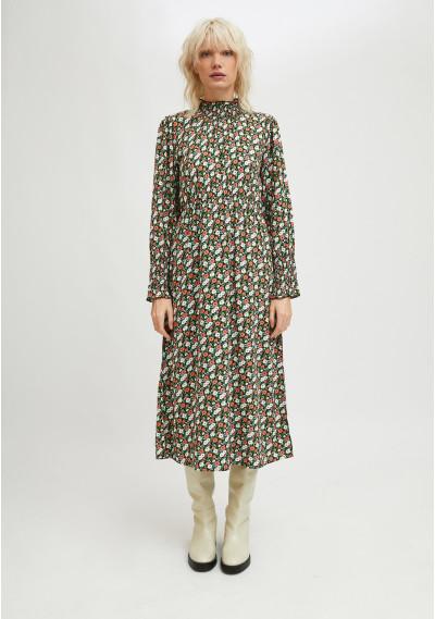 Midi dress with ruffles and two-tone flower print -  Compañía Fantástica