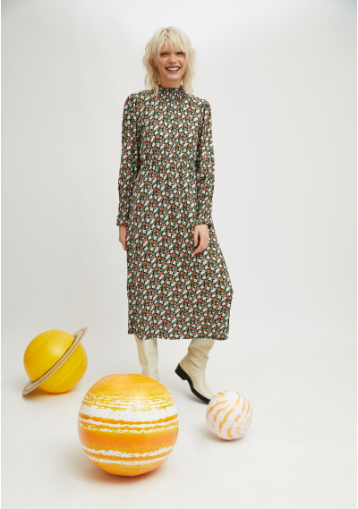 Midi dress with ruffles and...