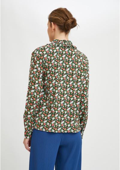 Bib collar shirt with ruffles and two-tone flower print -  Compañía Fantástica
