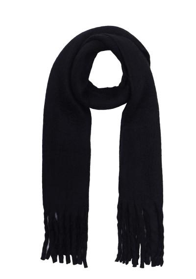 Black soft knitted scarf with fringe detail -  Compañía Fantástica