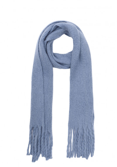 Blue soft knitted scarf with fringe detail -  Compañía Fantástica