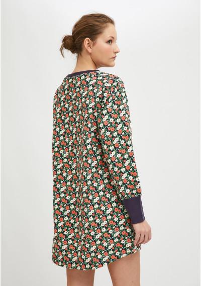 Cotton smock dress with two-tone flower print -  Compañía Fantástica