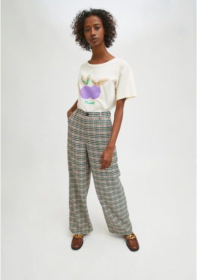 Check print high-waisted straight-leg trousers -  Compañía Fantástica