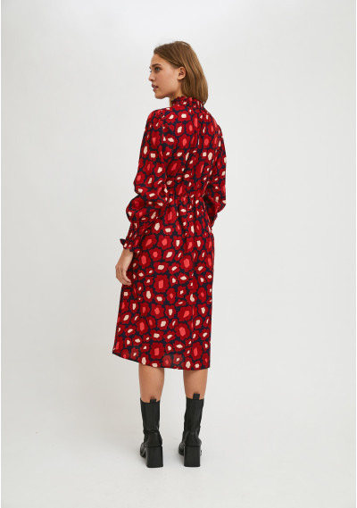 Midi dress with ruffles and large flower print -  Compañía Fantástica