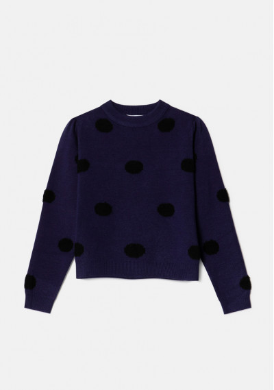Girl's purple polka dot print knit jumper -  Compañía Fantástica