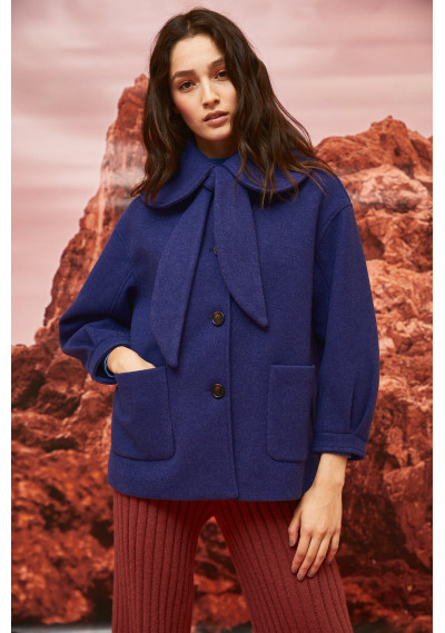 Blue cropped coat with...